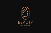 Beauty Woman Fashion Logo. Golden Abstract Vector Template Linear Style On A Black Background
