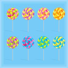 Sweet Candy Lollypop Set On The Light Blue Background, Vector Illustration