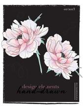 Botanical Wedding Invitation Card Template Design, Pink Peony Flowers Greeting Card. Tropical Design. Spring Natural Hand Drawn Sketch.