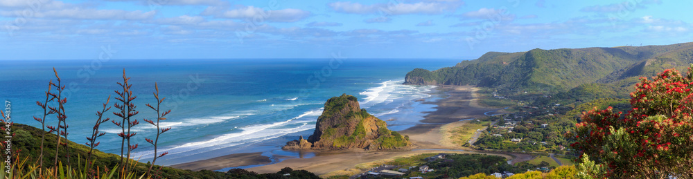 Fototapety, obrazy: Piha Beach and Lion Rock aerial panorama
