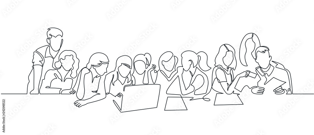 Fototapety, obrazy: Group of people working continuous one line vector drawing