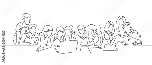 Obraz Group of people working continuous one line vector drawing - fototapety do salonu