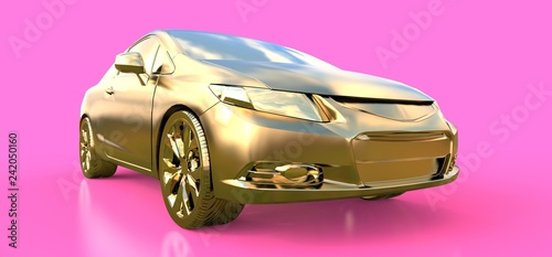zlote-male-sportowe-auto-coupe-3d-ren