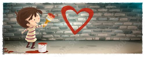 niño pintando un corazon en la pared Wallpaper Mural