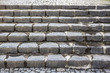 Stone steps. European street. The texture of the concrete stairs. City architecture.