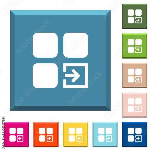 Valokuva  Import component white icons on edged square buttons