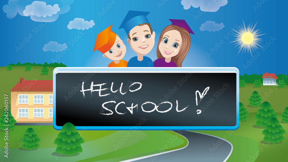 Obraz Hello school! fototapeta, plakat