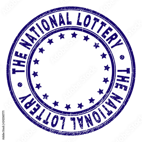 фотография  THE NATIONAL LOTTERY stamp seal watermark with grunge texture