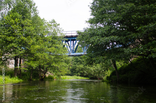 Fotografie, Obraz  Most nad rzeką wśród drzew
