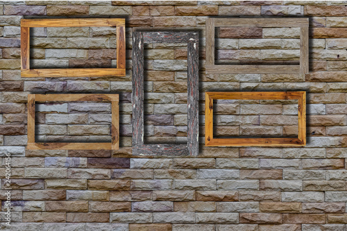 Old photo frames on bricks wall  Wooden picture frame  - Buy