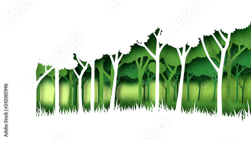 Plakaty do gabinetu eco-green-nature-forest-background-template-forest-plantation-with-ecology-and-environment-conservation-creative-idea-concept-paper-art-style-vector-illustration