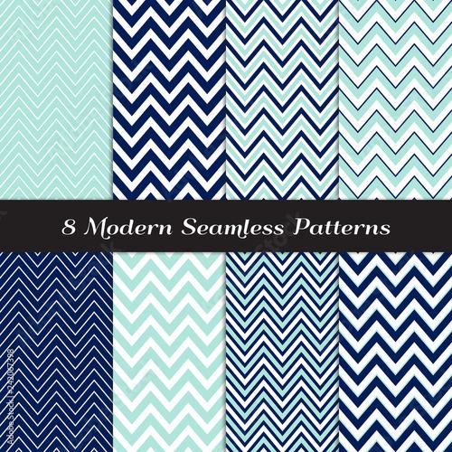 Photo Nautical Navy Blue, Aqua and White Chevron Seamless Patterns