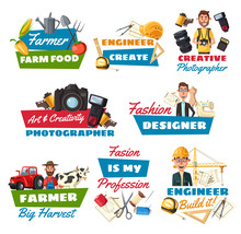 Professions Icons With Farmer, Builder And Tailor