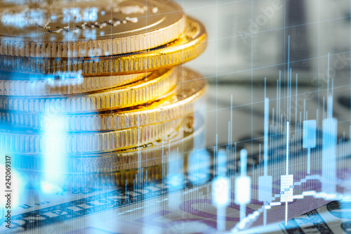 Photo  Stock market or forex trading graph and candlestick chart suitable for financial investment concept