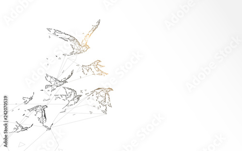 Flying birds form lines, triangles and particle style design. Illustration vector