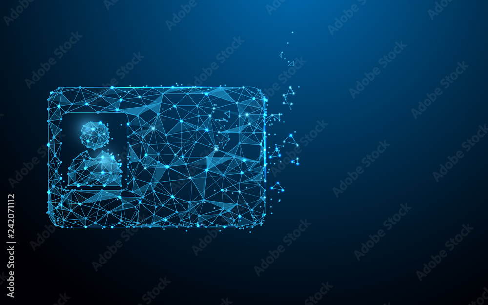 Fototapeta Smart ID card form lines, triangles and particle style design. Illustration vector