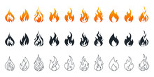 Collection Of Fire Icons. Fire Icons Set. Fire Flames