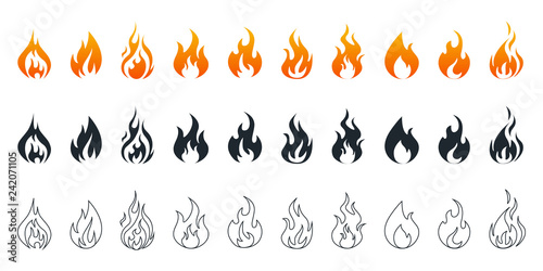 Photo Collection of fire icons. Fire icons set. Fire flames