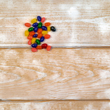 Jelly Bean Candies On A Wood B...