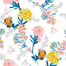 Beautiful And Softy Japanese Blooming Flowers, Branches, Leaves And Birds. Vector Seamless Pattern. Illustration For Fabrics,