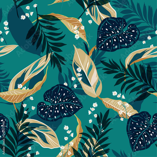 Beautiful tropical leaves. Seamless graphic design with palms leaves and flowers. Fashion,fabric and all prints Wall mural