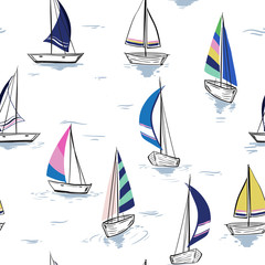 Fototapeta Do pokoju chłopca Hand drawing sketch Seamless summer sea pattern with sailing ships on white background.