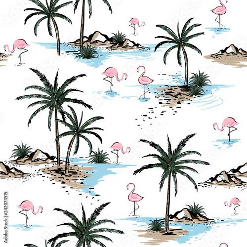 lato-piekny-bezszwowy-wyspa-wzor-na-bialym-tle-krajobraz-z-palmami-plaza
