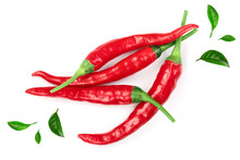 Red Hot Chili Peppers Decorated With Green Leaves Isolated On White Background. Top View. Flat Lay Pattern