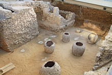 Third Ephorate Of Athens Antiquities During The Reign Of Emperor Hadrian.  Looking Underground At An Excavated Archaeological Site Of A Roman Bath House In Athens, Greece Near The Ilissos River.
