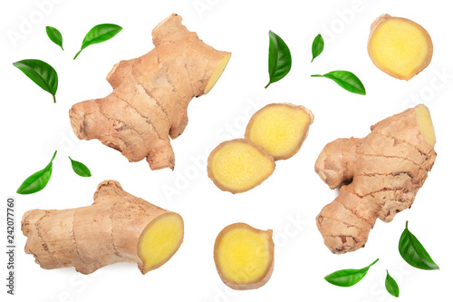 Fotografie, Obraz  fresh Ginger root and slice isolated on white background