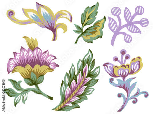 Valokuva  Set of paisley eastern elements Abstract flowers and leaves  colorful Bouquet on
