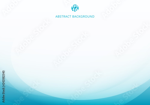 Fototapeta Abstract elegant blue light curve template on white background with copy space. obraz