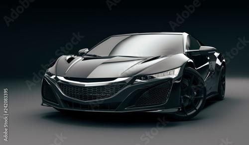 Foto 3d render of beautiful super sport car