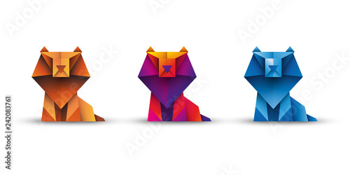 Fototapeta lwy origami wektor obraz