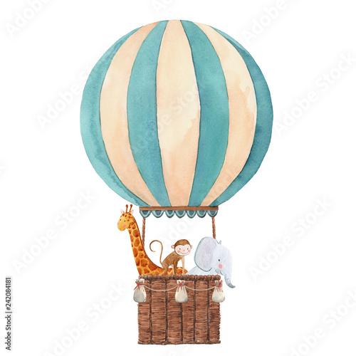 Akwarela ilustracja balon powietrza