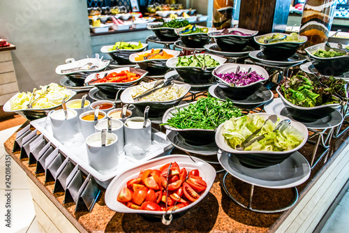 Fotomural  Assortment fresh vegetable salads vegetarian buffet tasty side dish variety