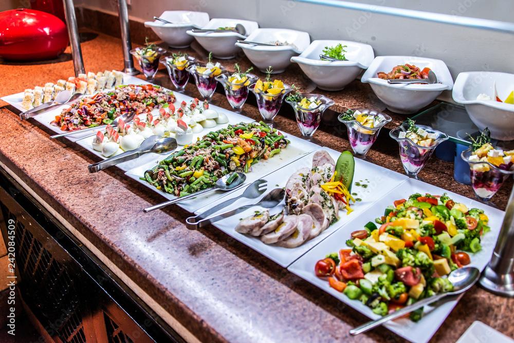 Fototapety, obrazy: Assortment fresh vegetable salads vegetarian buffet tasty side dish variety. Healthy food set, organic, natural egypt