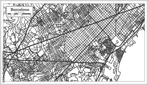 Fotografie, Obraz Barcelona Spain City Map in Retro Style. Outline Map.