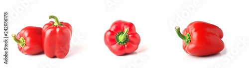 Stampa su Tela Set of fresh whole bell pepper isolated one and two on white background