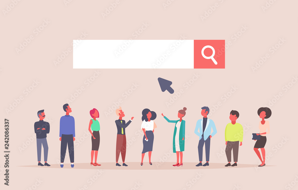 Fototapeta business people team over web search bar online internet browsing concept website development flat horizontal