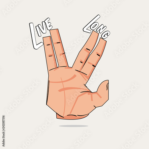 Valokuvatapetti live long hand sign - vector