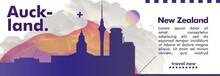 New Zealand Auckland Skyline City Gradient Vector Poster