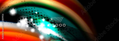 Spoed Foto op Canvas Wanddecoratie met eigen foto Color flow poster. Wave Liquid shape color background. Art design for your design