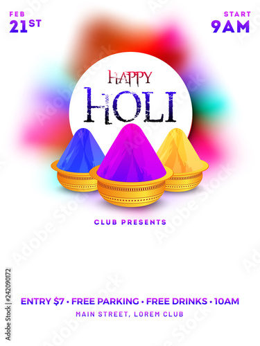 Golden Color Bowls On With Background Happy Holi Template