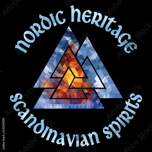Ancient Scandinavian pagan symbol Valknut, polygonal style Wallpaper Mural