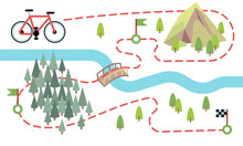 Bike Route Map. Cycling Trip Road, Country Path. Bike Adventure Tour Vector Map. Illustration Of Adventure Travel Mountain And Forest