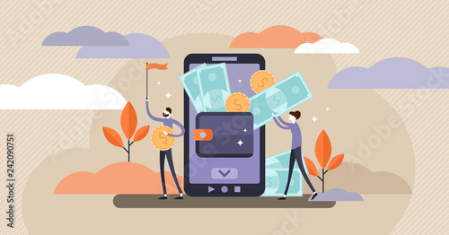 Mobile wallet vector illustration. Tiny persons concept with money transfer