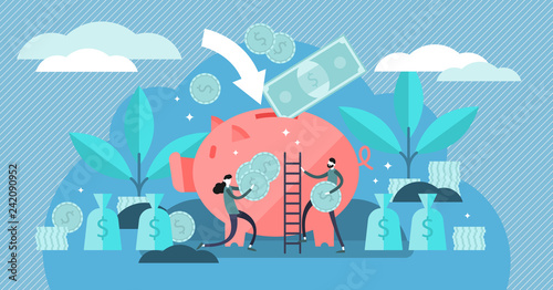Fototapeta Money saving vector illustration. Flat tiny persons concept with piggy bank obraz