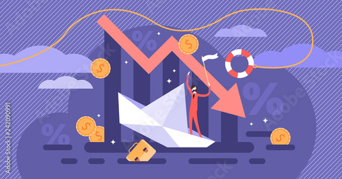 Bankruptcy vector illustration. Flat tiny person concept with broke company