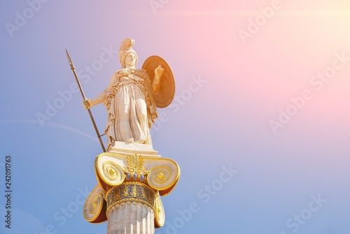 Fotomural Statue of the goddess Athina, the goddess of piece, wisdom and culture, daughter of Zeus and protector of the city of Athens, Greece